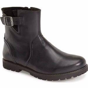 "Women's BIRKENSTOCK ""Stowe"" Moto Style Black Boot"